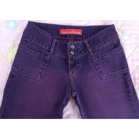 Calça Jeans Feminina Limelight Reta Roxa Roupa 38