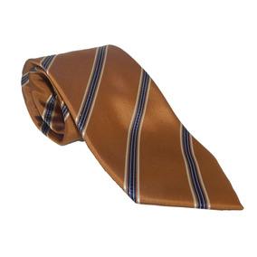 Corbata Italiana Dorada Cobre Con Franjas Azules