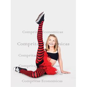 Media Calceta Over Knee Rayada Rojo Lolita Hallowen Caramelo