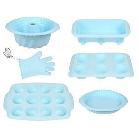 Formas De Silicone P/ Bolos E Cupcakes Linha Fun Azul Hau