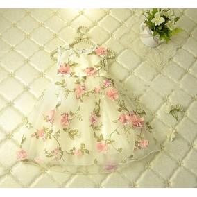 Vestido Fiesta Nena Flores Relieve/ Capas Tul Talles 2 A 11