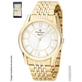 Relógio Feminino Dourado Champion Cn26233w + Colar E Brinco