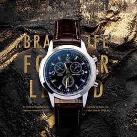Relógio Masculino Pulseira Couro Luxo Geneva Frete Grátis