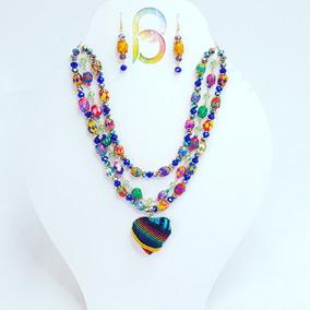 Collar Artesanal De Bolitas De Palma Tejida Con Cristales