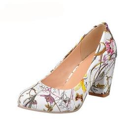 Zapatos Punta Redonda Tacon Bajo - Tacones para Mujer en Mercado ... 1de39954c988