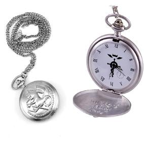 Reloj Collar Full Metal Alchemist Plateado Collar Bolsillo