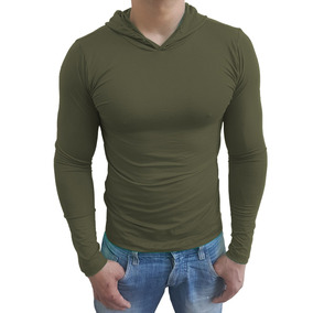 Camiseta Masculina Básica Slim Redonda Com Capuz Manga Longa