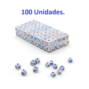 Kit 100 Dados Brancos 6 Lados Colors Jogos Tabuleiro 14mm