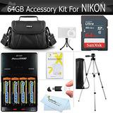 64gb Kit De Accesorios Para Nikon Coolpix B500, L840, L830,
