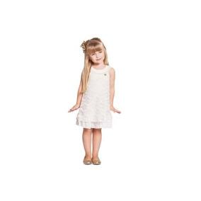 23a5eb8d57 Vestido Infantil De Renda Off White Ninali