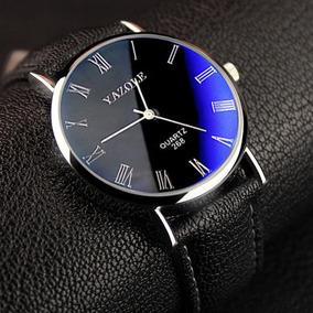 Reloj Hombre Casual Acero Vidrio Azul Brillante Envio Gratis