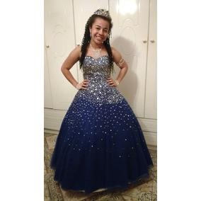 Vestido azul e dourado debutante