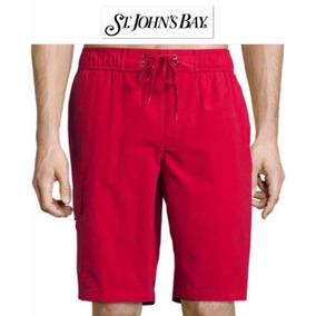 Shorts S Traje Bano Cargo Chico St John Bay Rojo Hombre Ve!!