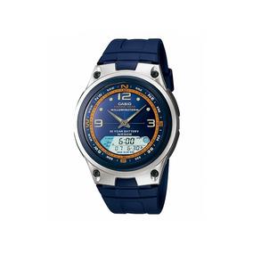 800fb36b33b Relogio Casio Azul Aw 80 Tel. Memo 30 Pulseira Em Aço - Relógios De ...