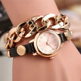 Relógio Feminino Quartzo Analógico Couro Mostrador Em Ouro