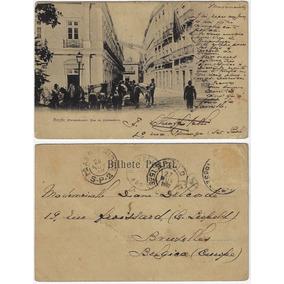 Pe 1902 Cartão Postal Foto Rua Do Comércio Em Recife
