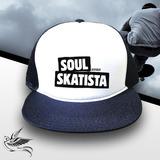Boné Soul Skatista Trucker Snapback Aba Reta Preto 08f4c3b1bc9
