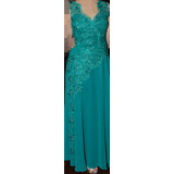 Vestido de festa infantil verde jade