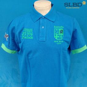 Camisa Polo Radade Classic City Azul Com Verde c1a8b392ec90f