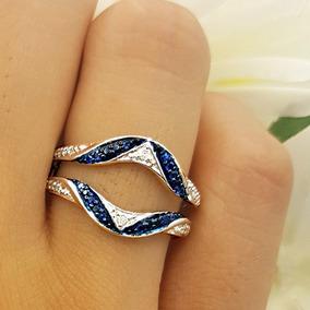 Colección Dazzlingrock 10k Oro Blanco Redondo Azul Zafiro...