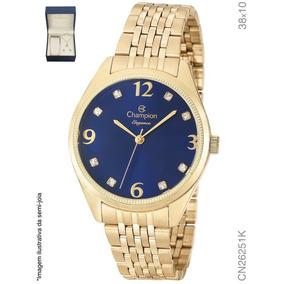 Relógio Feminino Dourado Champion Cn26251k + Colar E Brinco