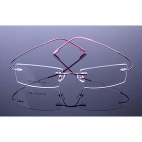9f1eb54a5 Armação Óculos De Grau Sem Aro Feita De Titanium Rosa A404 - Óculos ...