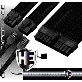 Kit Cabo Sleeve Extensor Gamer 24p 3x8p 2x Sata Fita Led Top