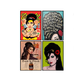 Kit 5 Placas Decorativas Pôster Amy Winehouse Artista Mdf
