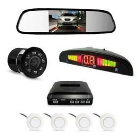 Kit Sensor De Estacionamento Branco + Câmera Infra + Espelho