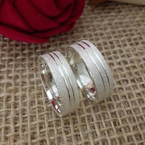 Par Aliança De Compromisso Namoro 5mm Diamantada Friso Prata