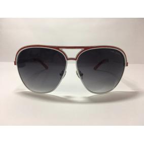 0b11352b471b1 Óculos De Sol Unissex Branco E Couro Vermelho - Via Lorran