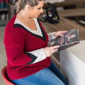 Blusa Casaco Sueter Plus Size Gola V Feminina Inverno 2018
