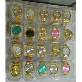 Kit C/10 Relógios Feminino Dourado+caixas Atacado/revenda