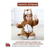 Macacão Pijama Bebê Bichinho Fantasia Leopardo Infantil