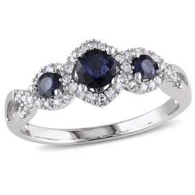 Zafiro Y Diamante De Piedra Tres Anillo 1/2 Quilates (ctw) E