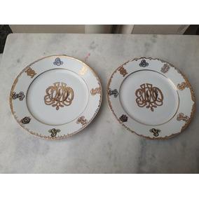 2 Pratos Austríacos Porcelana Antigo Detalhes Em Dourado Mz