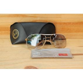 Óculos Rayban Rb 3387 077 7b Aviador Dourado Azul Seminovo cc78fe7673