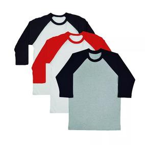 1c74b0580bce5 Kit 10camiseta Raglan Manga 3 4 Lisa Camisa Atacado Promocao