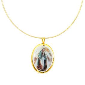 Medalha De Nossa Senhora Das Graças Ouro E Gargantilha Vd