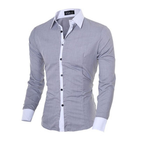 Camisa Social Formal Comprida Masculina Cinza Claro