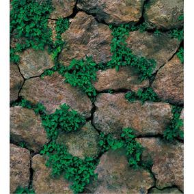 Papel Tapiz Piedras Rocas Con Plantas Adhesivo Pared