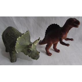 Lote Com 2 Antigos Dinossauros Material Borracha - A56