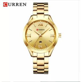Relógio Feminino Curren 9007 Quartzo Calendário Gold E Rose