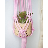 Mini Hanger De Macramê Para Plantas Rose Quartz