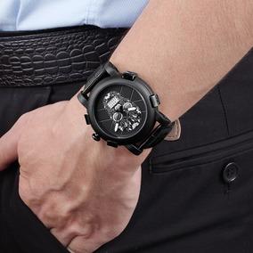 Reloj De Calavera Negro De Acero Inoxidable