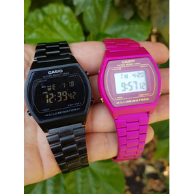 e60165456a7c Reloj Casio Negro Mate   Rosa Fiusha Vintage B640w Duo 2pz