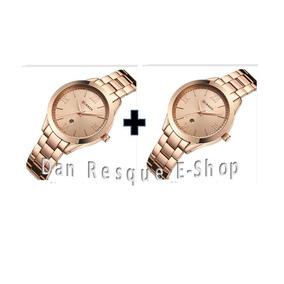 2 Relógios Curren 9007 Feminino Gold Caixinha Nao Inclusa