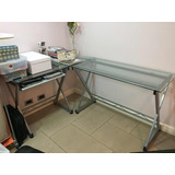 5.843 25. Buenos Aires. Escritorio Esquinero De Vidrio Y Aluminio Impecable 60962d8660e4