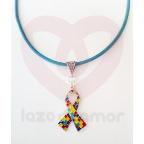 Collar De Cuero Color Azul Con Dije Simbolo Autismo Tea