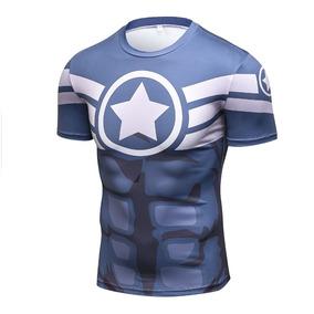 f37e44d5ae Camisa Compressao Capitao America - Camisas no Mercado Livre Brasil